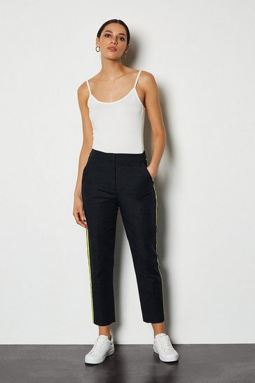 Blue Tailored Capri Trouser with Side Stripe