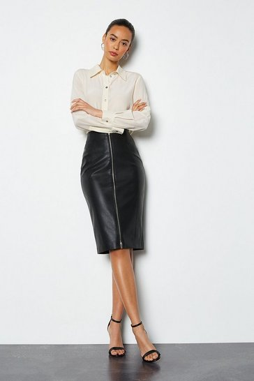 Black Faux Leather Zip Front Pencil Skirt