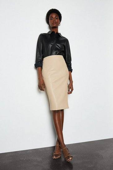 Camel Faux Leather Front Split Pencil Skirt