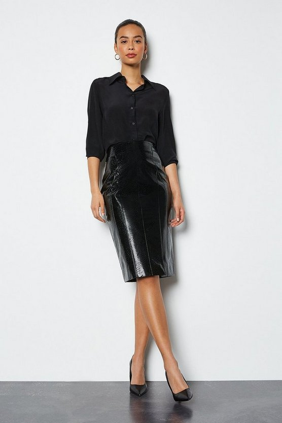 Black Croc Effect Faux Leather Front Split Skirt