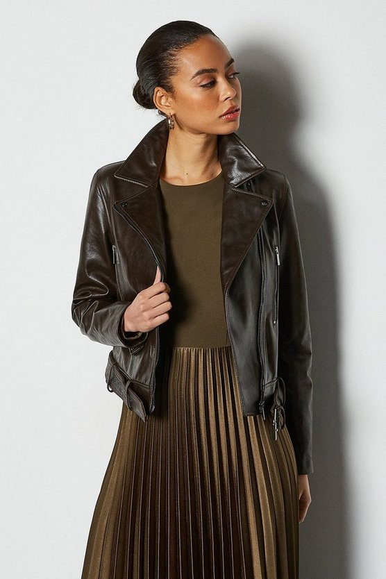 Chocolate Glossy Belted Leather Biker Jacket