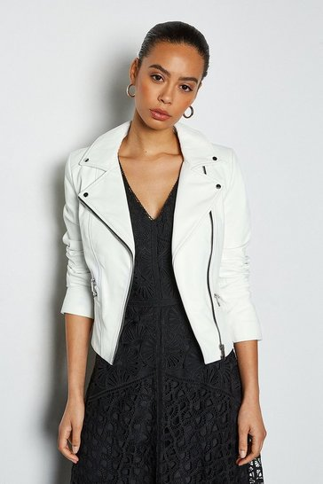 White Leather Signature Biker Jacket