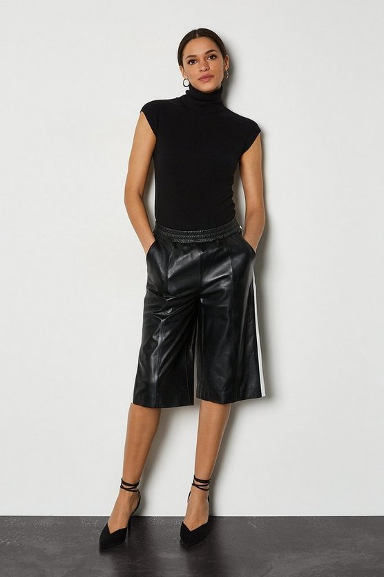 Blackwhite Leather Colourblock Culotte