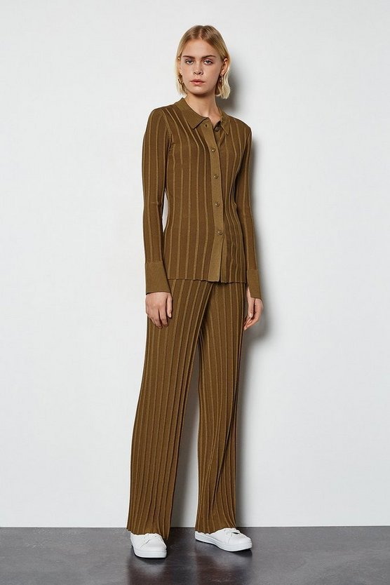 Camel Wide Rib Knit Trousers