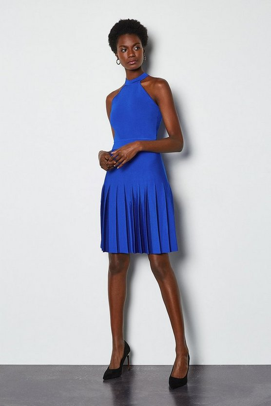 Blue Halterneck Fluted Skirt Bandage Knit Dress