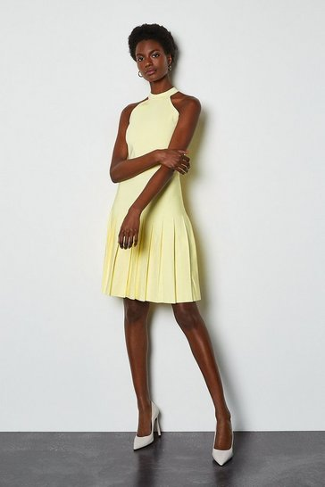 Lemon Halterneck Fluted Skirt Bandage Knit Dress