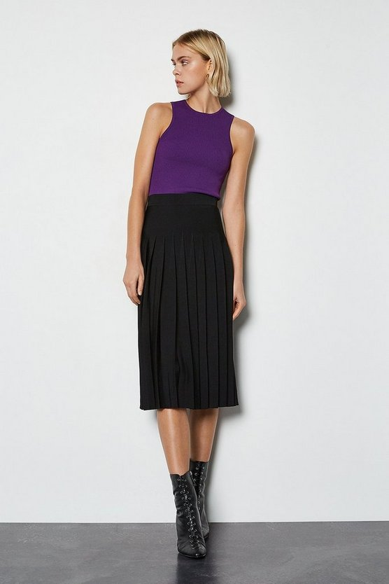 Black Midi Fluted Knit Skirt