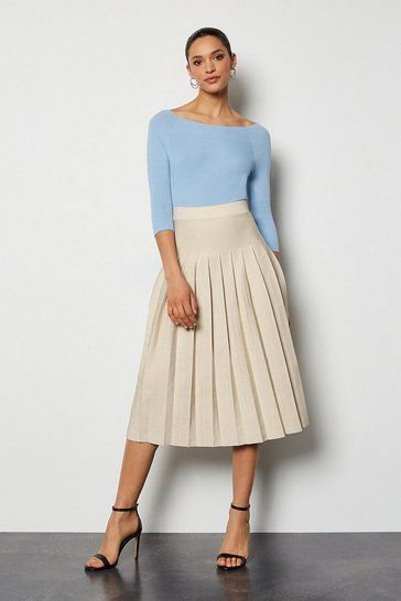 Grey Midi Fluted Knit Skirt