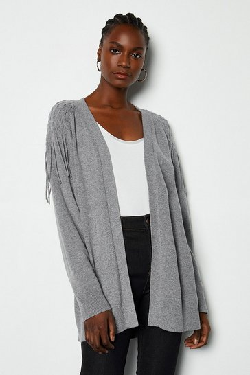 Grey Cashmere Blend Fringe Shoulder Cardigan