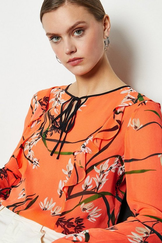 Coral Trailing Oriental Print Top