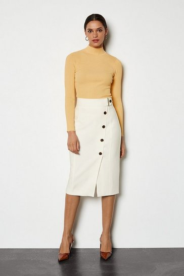 Ivory Sleek And Sharp Skirt