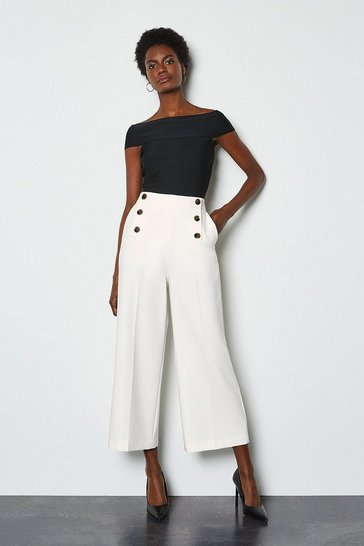 Ivory Sleek And Sharp Trousers