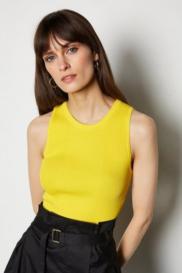 Yellow Essential Skinny Rib Top