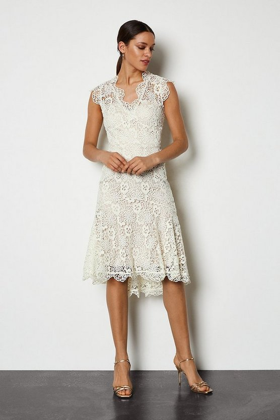 Natural Lace Knee Length Dress