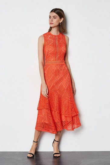Coral Ruffle Lace Dress