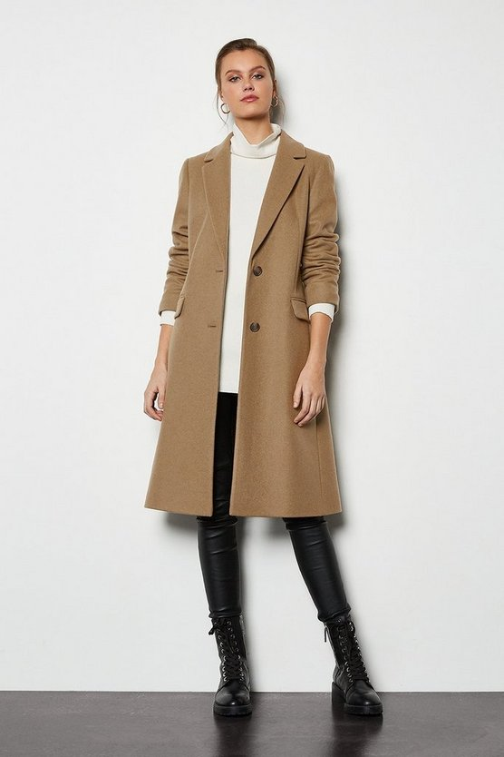 Camel Tailored Wool Blend Coat