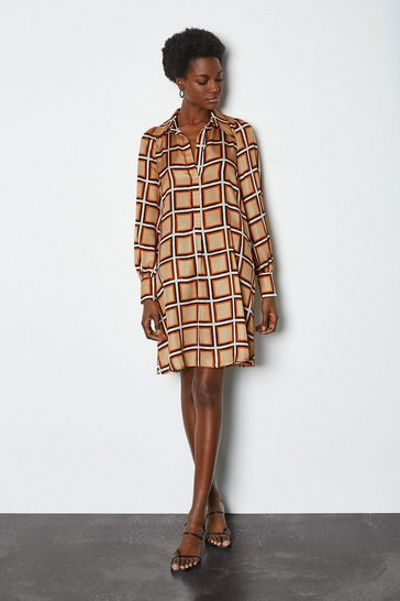 Stone 70's Check Shirt Dress