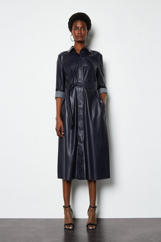 Faux Leather Navy Midi Shirt Dress