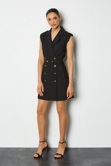 Black Safari Cotton Sateen Dress