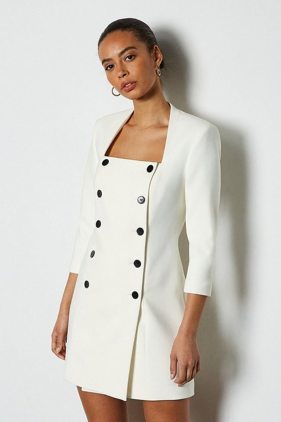 Ivory Military Square Neck Dress