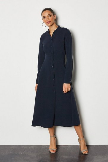 Navy Military Flared Shirt Dress