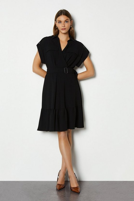 Black Military Soft Wrap Dress