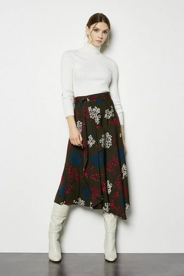 Green Floral Asymmetric Hem Skirt