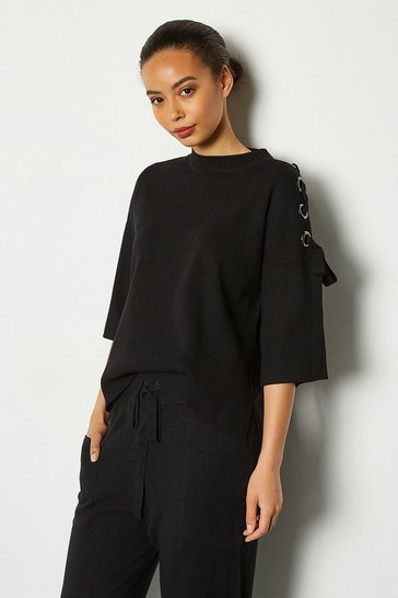 Black Jumbo Eyelet Lacing Detail Jumper