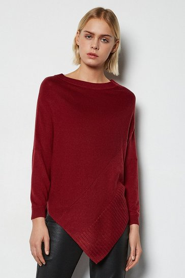 Red Soft Knit Poncho