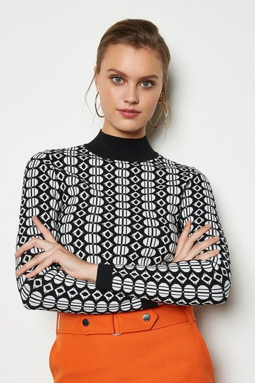 Blackwhite Geometric Knit Jumper