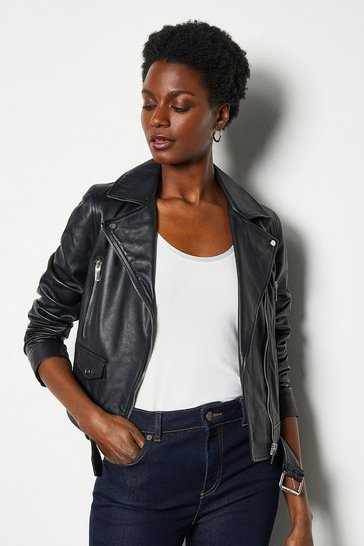 Black Belted Leather Biker Jacket