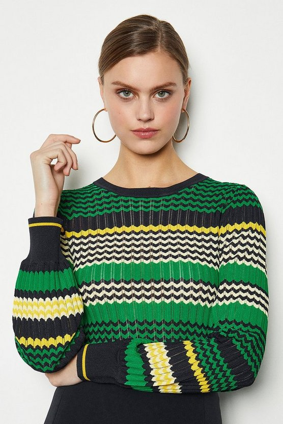 Green Zig Zag Pointelle Stripe Jumper