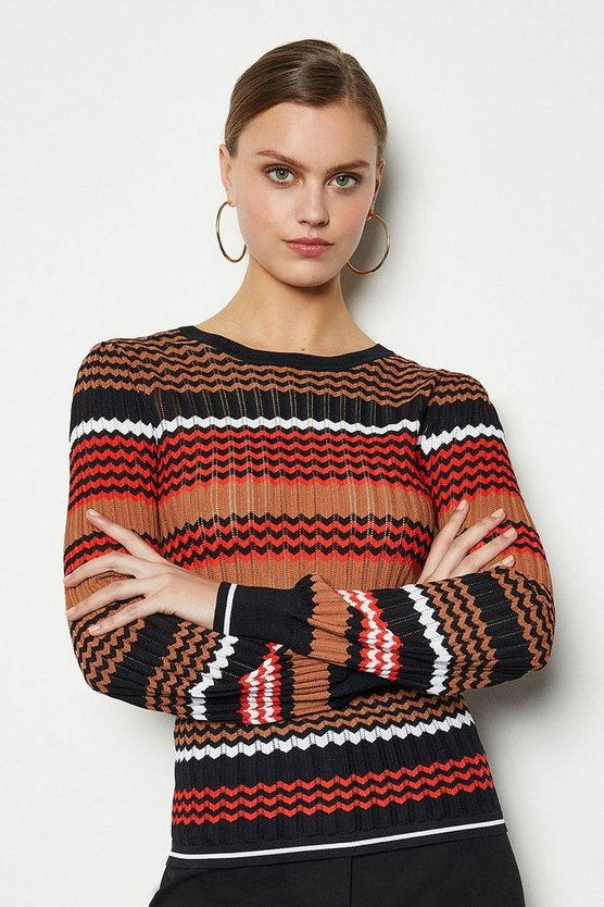 Red Zig Zag Pointelle Stripe Jumper