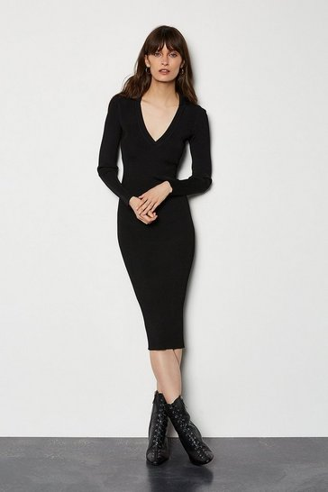 Black Plain Knitted Polo Collar V Neck Dress