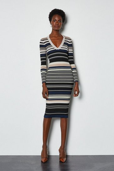 Black Stripe Knitted Polo Collar V Neck Dress