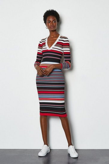 Red Stripe Knitted Polo Collar V Neck Dress