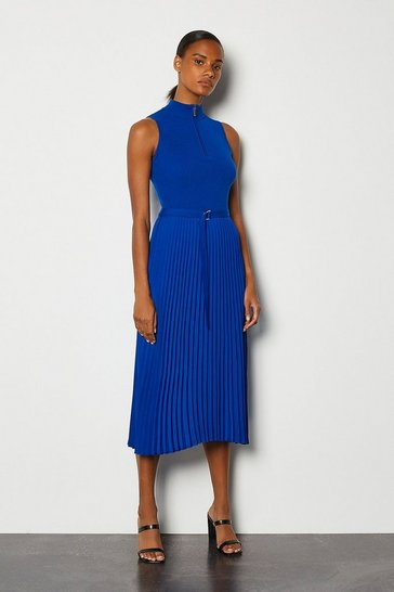 Blue Zip Turtle Neck Pleated Skirt Dress