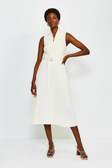 Cream Zip Turtle Neck Pleated Skirt Dress
