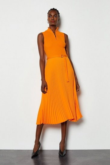 Orange Zip Turtle Neck Pleated Skirt Dress