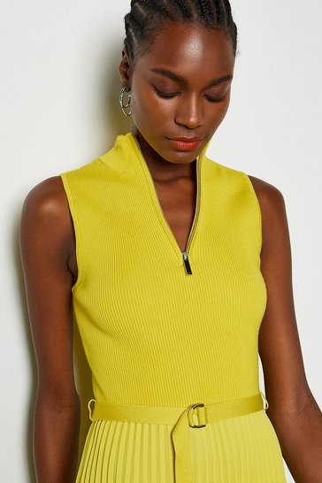 Yellow Zip Turtle Neck Pleated Skirt Dress