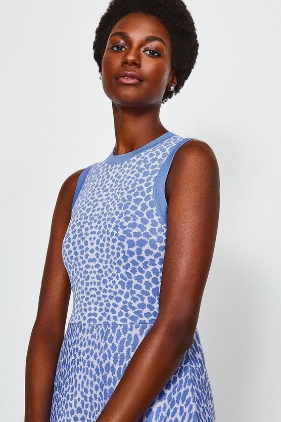 Blue Sleeveless Leopard Flippy Knit Dress