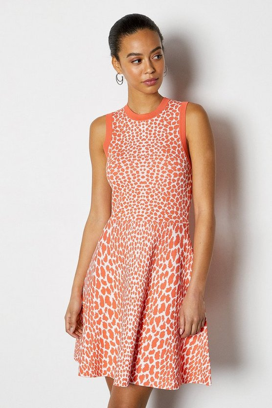 Coral Sleeveless Leopard Flippy Knit Dress