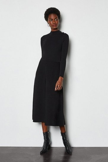 Black Midi Essential Rib Knit Dress