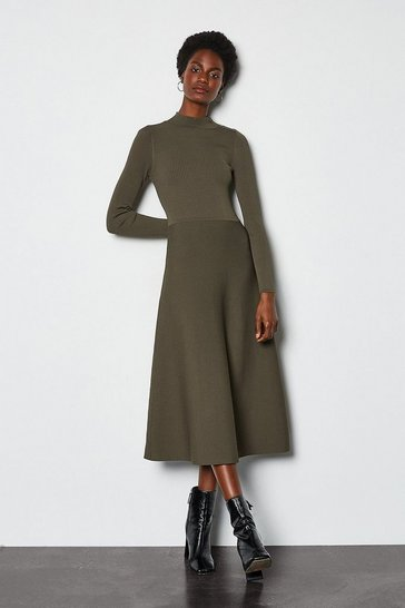 Khaki Midi Essential Rib Knit Dress