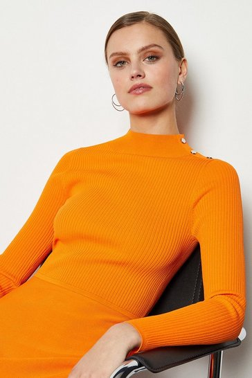 Orange Midi Essential Rib Knit Dress