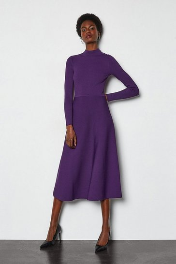 Purple Midi Essential Rib Knit Dress