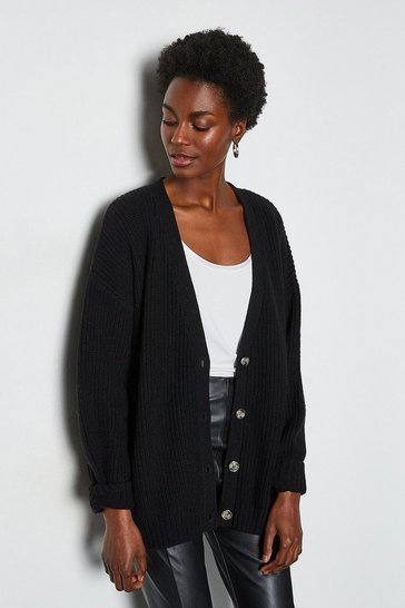 Black Chunky Rib Oversized Cardigan