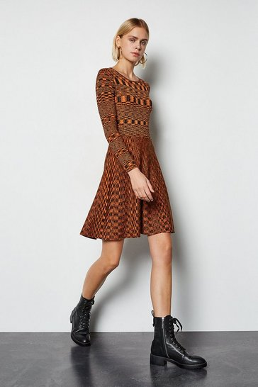 Multi Space Dye Knit Fit and Flare Dress