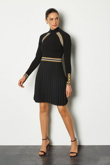 Camel Sporty Stripe Pleat Skirt Knit Dress