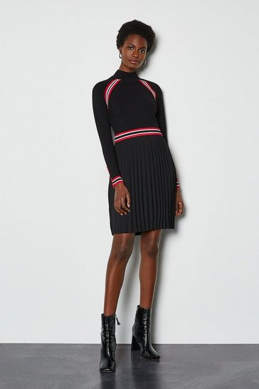 Red Sporty Stripe Pleat Skirt Knit Dress